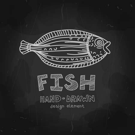 Hand-drawn flounder fish with Fish label on blackboard. Black and white grunge design. Vector design element can be used for logotype, fishing  . Vector illustration. Vector