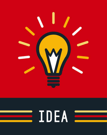 Creative idea with bulb shape. Imagine concept. Flat lightbulb icon. Light on. Vector illustration.