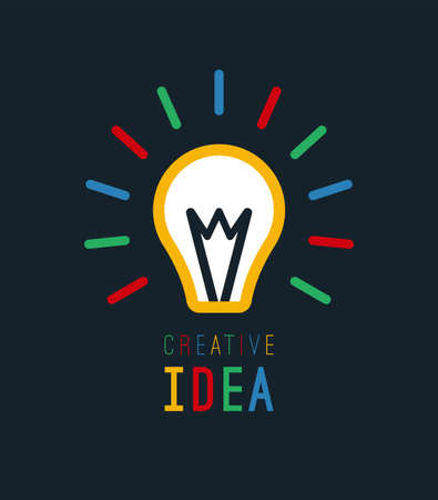 Creative idea with bulb shape. Imagine concept. Flat light bulb icon. Vector illustration.