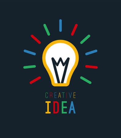 Creative idea with bulb shape. Imagine concept. Flat light bulb icon. Vector illustration.