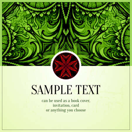 antiquities: Green vintage background. Old paper with vintage ornament. Vector illustration.