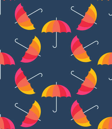 rainbow umbrella: Vector umbrellas. Abstract seamless pattern design. Colorful banner. Vector illustration. Autumn background. Rainbow color umbrellas on blue background. Autumn season design concept.