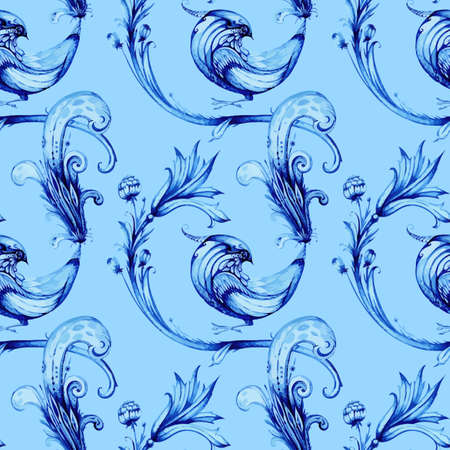 acanthus: Blue birds and flowers. Vector watercolour pattern. Hand drawn painting. Repeat design element. Vector retro style illustration. Blue and white background. Vector seamless background.