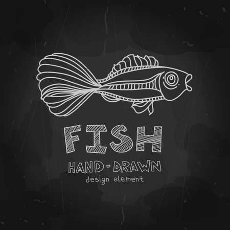 Fish with beautiful tail. Hand Illustration