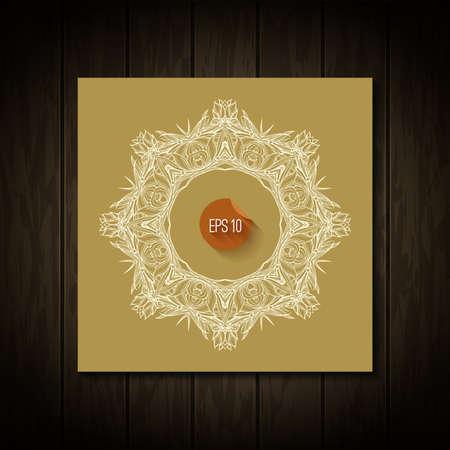 lacey: White circle frame. Vector art. Ornamental round border. Illustration