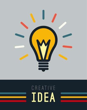 inspiration education: Flat light lamp sign icon. Idea symbol. Imagine concept. Light is on.  Vector illustration.