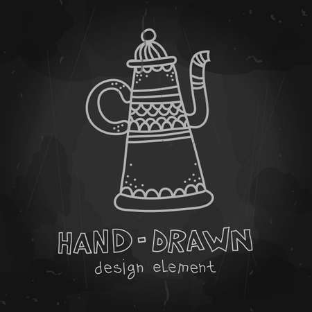 pots: Vector arab coffee pot. Antique arabian teapot. Hand drawn chalkboard mockup for restaurant menu, cafeteria advertising stylized drawing with chalk on blackboard.