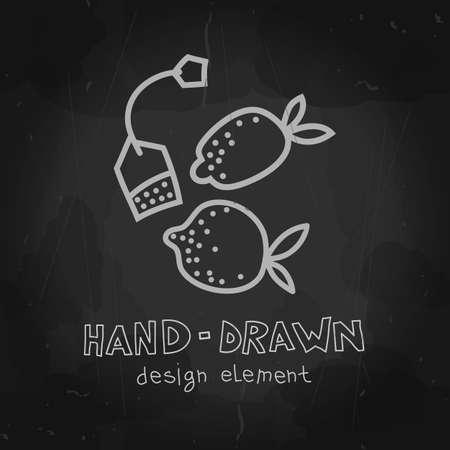 cafeteria: Vector lemon and teabag. Fruit tea illustration. Hand drawn chalkboard mockup design element for packaging, advertising, menu, cafeteria, shop.