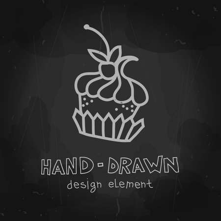 cafeteria: Vector cake. Hand drawn sweet mockup. Chalkboard design for cafeteria. Teatime art. Vector illustration can be used for ads, banners or restaurant, coffee shop and bakery.