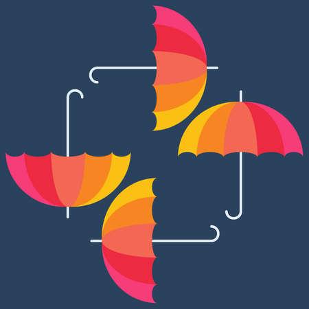 illustrazione sole: Ombrelli vettore. Astratto design seamless. Bandiera variopinta. Illustrazione vettoriale. Ombrelloni sfondo. Ombrelli di colore arcobaleno su sfondo blu. Stagione autunnale concetto di design. Vettoriali