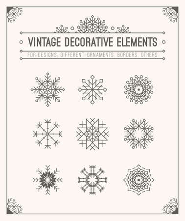 Christmas decoration set. Snowflakes, calligraphic and typographic design element, label, symbols, icons, frame, border.