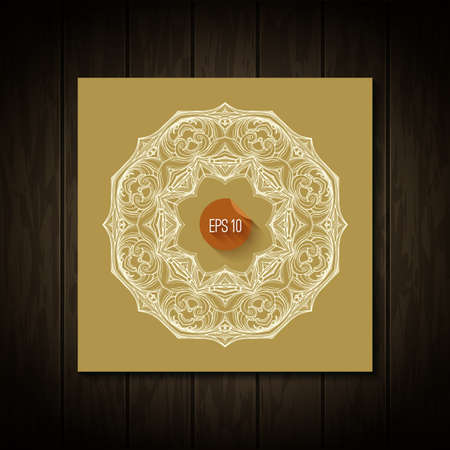 wooden circle: Retro Vintage wedding greeting card on wooden background and long shadow label icon. Floral circle retro style frame. Vector illustration.