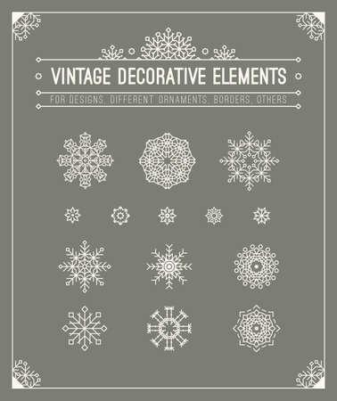 Vintage decorative elements. Hipster design. Set of geometric shapes, circles, frame, sign, title, header. Outline flourish retro style patterns, calligrafic frame for  badge, banner