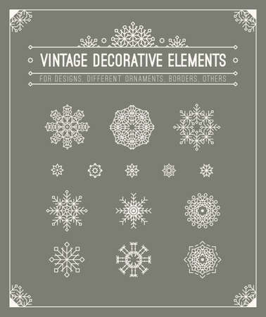 Vintage decorative elements. Hipster design. Set of geometric shapes, circles, frame, sign, title, header. Outline flourish retro style patterns, calligrafic frame for  badge, banner