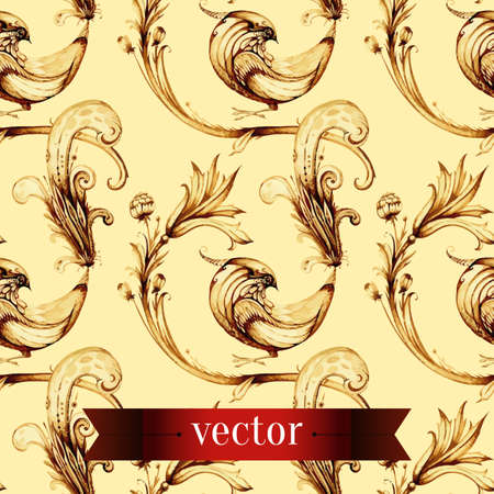 wallpaper floral: Vector seamless vintage flower and birds pattern on old paper background. Illustration of seamless floral wallpaper