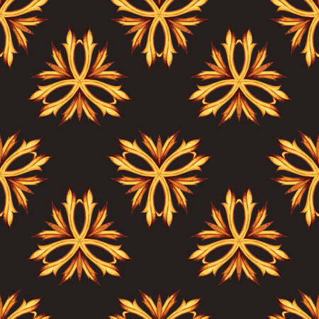 leaved: Gold and black luxury retro style seamless pattern background. Floral hipster ornament. Leaved and foliage design elements for web and print. Illustration