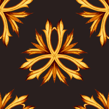 wallpaper image: Vector floral seamless pattern. Botanical seamless background. Leaves ornament on black background. Vector image can be used for textile, wallpaper, ornamental background for printing and web design. Illustration