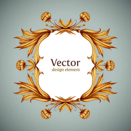 vintage sign: Vector flowers, leaves, branches pattern with empty place for your typography. Retro style banner design template. Hipster flourish element for banner, poster, invitation, wedding or birthday  cards