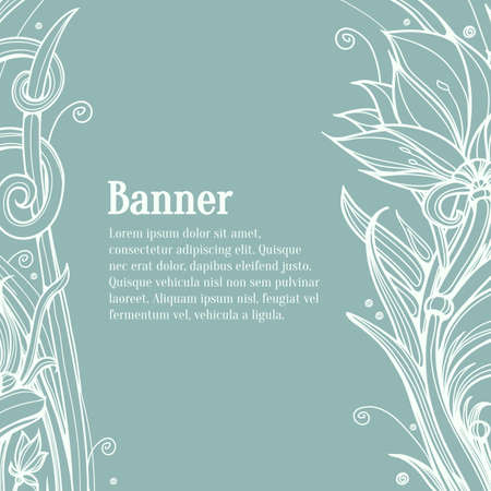 Lotus flower art. Lotus flower design template. Hand-Painted Line Drawing Flower Background Vector. Vintage invitation card. Floral background. Banco de Imagens - 42570877