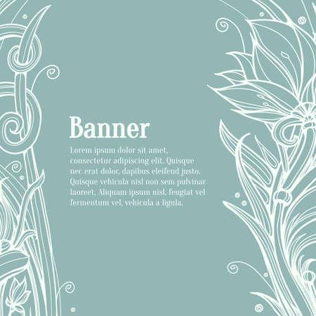 Lotus flower art. Lotus flower design template. Hand-Painted Line Drawing Flower Background Vector. Vintage invitation card. Floral background.