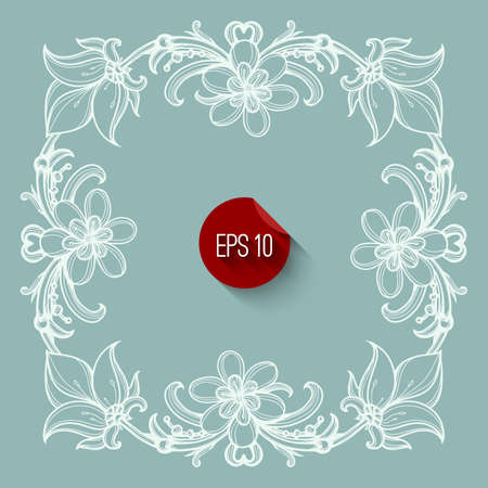 other: Floral frame design. Flourish ornate retro style design template with white calligraphy border for cards, invitation, poster. Layout of wedding, birthday and other holidays greetings. Illustration. Illustration