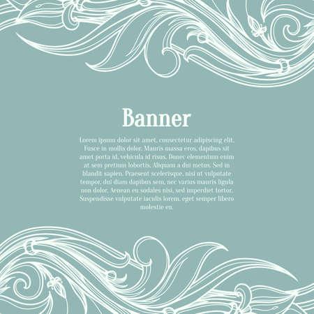 Blauwe kaart met bloeien sierlijke patroon. Vector retro-stijl ontwerp sjabloon voor uitnodigingskaart. Lay-out voor de bruiloft, verjaardag en andere vakantiegroeten. Vector illustratie in de kalligrafische stijl.
