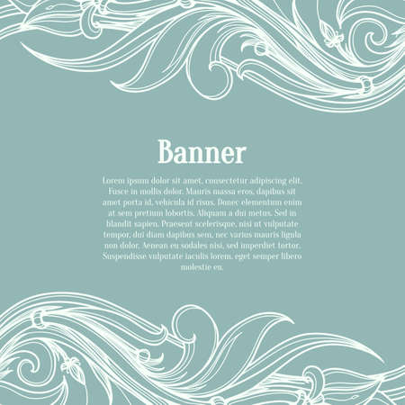 Blue card with flourish ornate pattern. Vector retro style design template for invitation card. Layout for wedding, birthday and other holiday greetings. Vector illustration in the calligraphic style.
