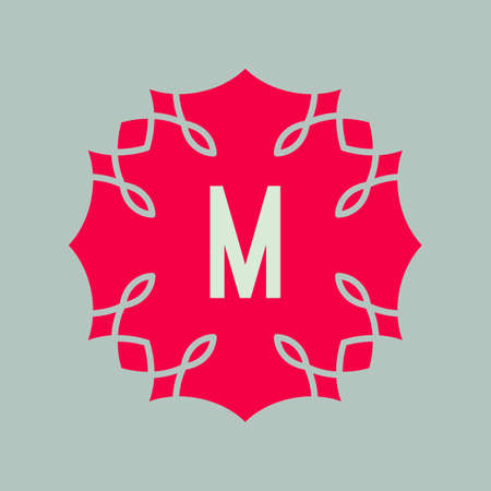 m: Vector icon letter M design element. Alphabet symbol. Red shape with white M letter in center. Flourish hipster frame for identity and logotypes.