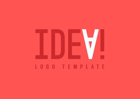interjection: Vector abstract red background with IDEA! exclamation.  IDEA logo template with inverted A letter accent and exclamation mark. Positive emotion icon design for poster, message, banner, business card Illustration