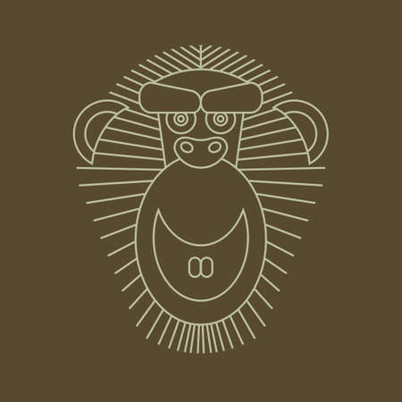 chinese astrology: Year of the Monkey: Chinese Zodiac Sign for 2016. Vector Animal Sign: Monkey. Art deco vintage classic monochrome luxury geometric Chinese Astrology symbol. Illustration