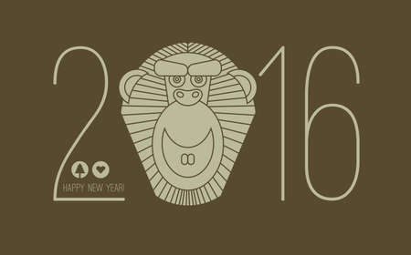 chineese: 2016 calendar for chineese new year of monkey. Chinese new year lettering 2016. 2016 wording. Eastern horoscope vector illustration.