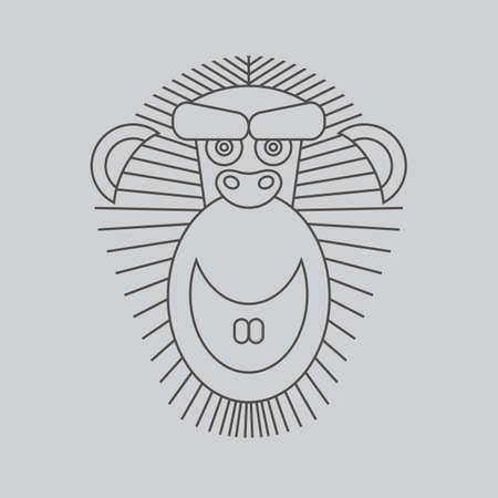 animal frame: Year of the Monkey: Chinese Zodiac 2016. Vector Monkey animal sign. Abstract elegant monkey logo vector design. Vintage style linear hipster minimal luxury label, logo, frame, badge, illustration