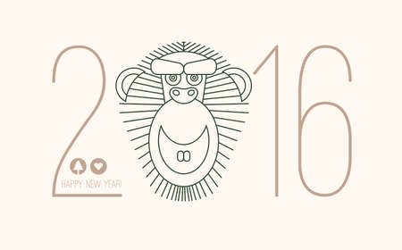 2016 calendar for chineese new year of monkey. Chinese new year lettering 2016. 2016 wording. Eastern horoscope vector isolated on white background.