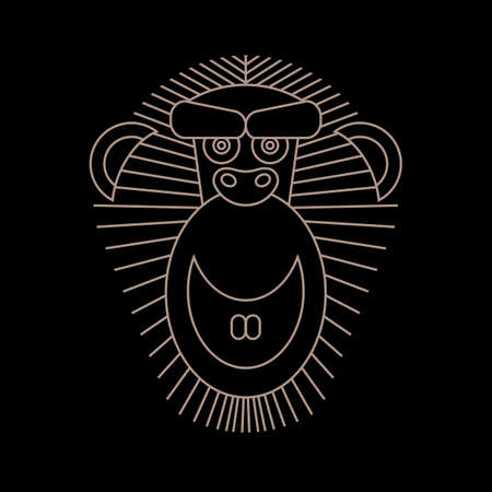 chinese astrology: Chinese Horoscope 2016 - Year Of The Monkey. Vector Monkey in outline style. Vector symbol, label, logo, frame inluxury hipster minimal linear style. Vintage Chinese Astrology illustration.