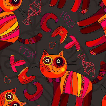 cute wallpaper: Cat Wallpaper. Vector seamless pattern. Abstract cute cat and fish illustration.