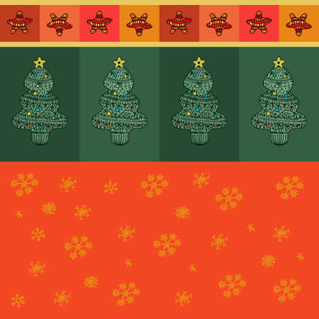 pics: Cartoon christmas tree seamless background. Hand drawn wrapping paper design. Red and green xmas pics.