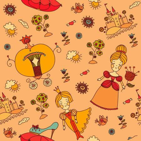 cinderella: Cinderella girly seamless background. Cinderella and prince art. Prince and princess drawing art. Bright color painting. Stock Photo