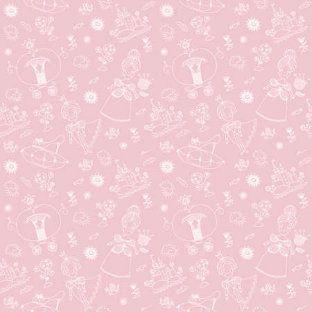 Cinderella girly seamless background. Cinderella and prince art. Prince and princess drawing art. Pink color girly background. Stock Photo