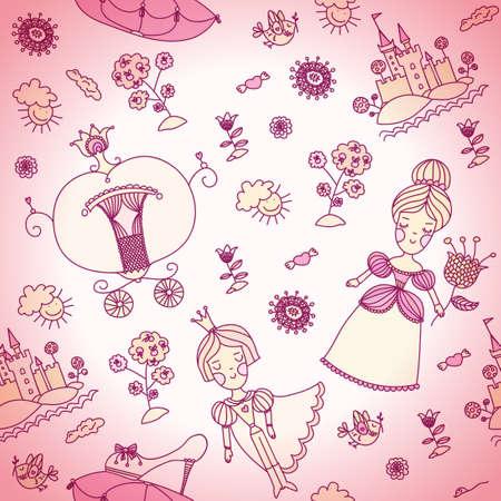 girly: Cinderella girly seamless background. Cinderella and prince art. Prince and princess drawing art. Girly graphic.