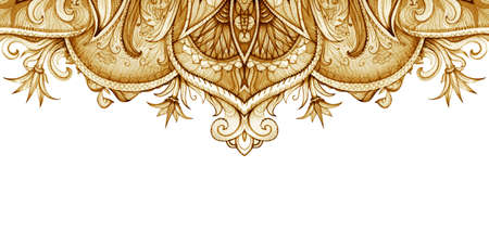 Horizontal banner template. Vintage Illustration. Retro graphic style floral decoration. Banco de Imagens - 43624584