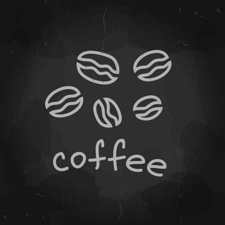 Vector coffee bean mockup. Letters. Hand drawn art. BBlackboard background for cafe or restaurant sign. Chalk drawing. Chalkboard Design Elements