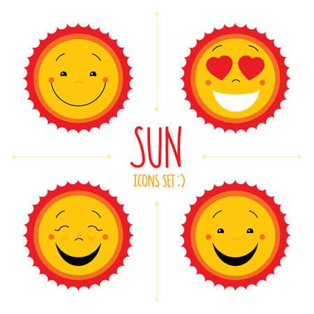 Conjunto del bebé icono del sol linda del vector.