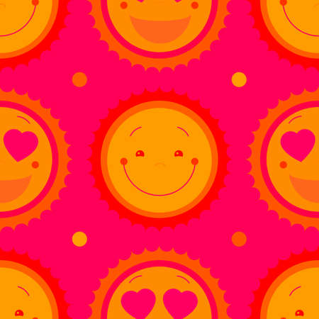 Vector seamless baby girl background with sun.