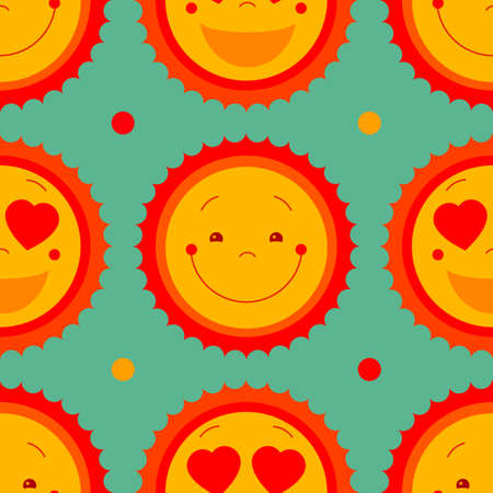 suns: Vector abstract seamless pattern background with smile sweet suns and dots.