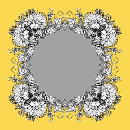 herbaceous border: Floral vector frame. Illustration