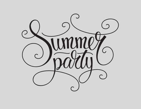 white party: Black and white background for summer party designs. Summer party lettering sign. Summer party calligraphy. Summer party type for poster, flayer. banner. Vintage style summer party text.