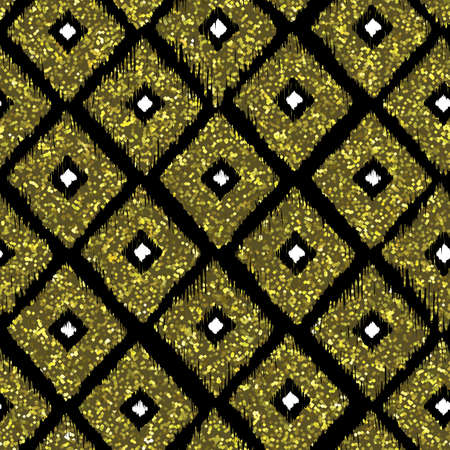 rhombus: Seamless pattern gold tribal background with glitter texture. Abstract ikat seamless pattern background. Abstract vector background. Gold, black and white seamless rhombus pattern. Vector illustration Illustration