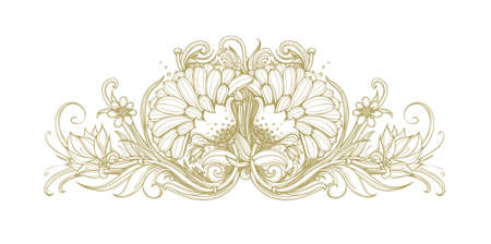 flower blooming: Vector gold blooming flower background. Golden flowers on white background. Modern chic gold white flowers background. Floral pattern design element for premium product and service. Vintage vector.