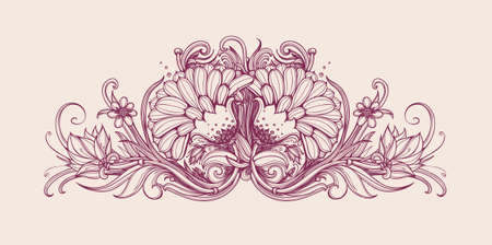 oriental medicine: Vector vintage flowers. Vintage flower pattern print design. Vector flower background. Hand drawn flower bouquet. Floral frame design. Vintage flowers. Vector art illustration. Horizontal frame border Illustration