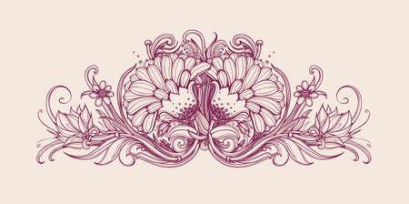 retreat: Vector vintage flowers. Vintage flower pattern print design. Vector flower background. Hand drawn flower bouquet. Floral frame design. Vintage flowers. Vector art illustration. Horizontal frame border Illustration